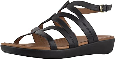 a2e043fb268 Fitflop Strata Gladiator Sandals - Leather Black  Amazon.co.uk ...