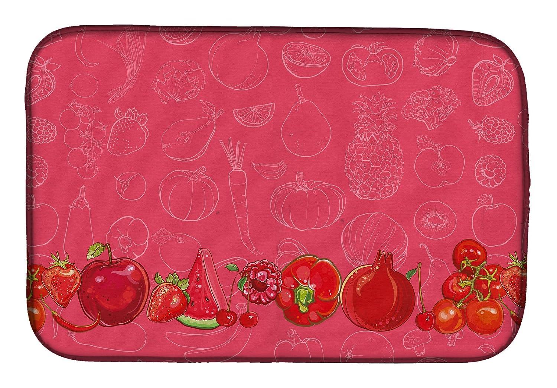 Caroline 's Treasures bb5133ddm果物と野菜赤でディッシュ乾燥マット、14
