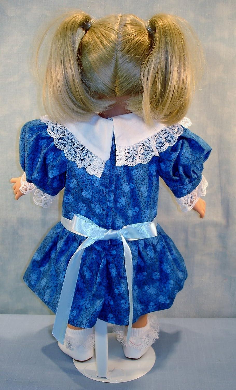 1904 Edwardian Royal Blue Floral Dress handmade by Jane Ellen to fit 18 inch dolls
