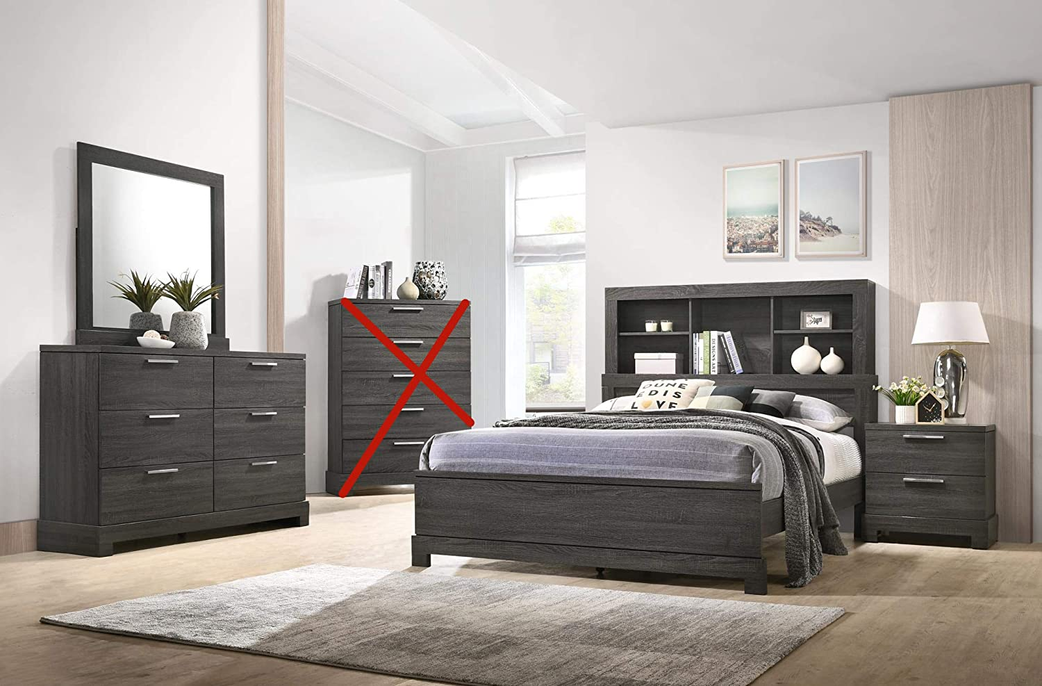 Amazon.com: GTU Furniture Contemporary Bookcase headboard Bedroom ...
