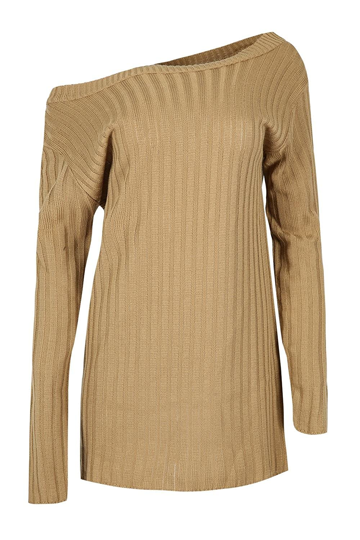 e807046614de Be Jealous Women s Off Shoulder Oversized Rib Pullover Jumper Baggy Mini  Dress at Amazon Women s Clothing store