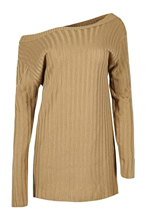 be519640fd51 Be Jealous Women s Off Shoulder Oversized Rib Pullover Jumper Baggy Mini  Dress at Amazon Women s Clothing store