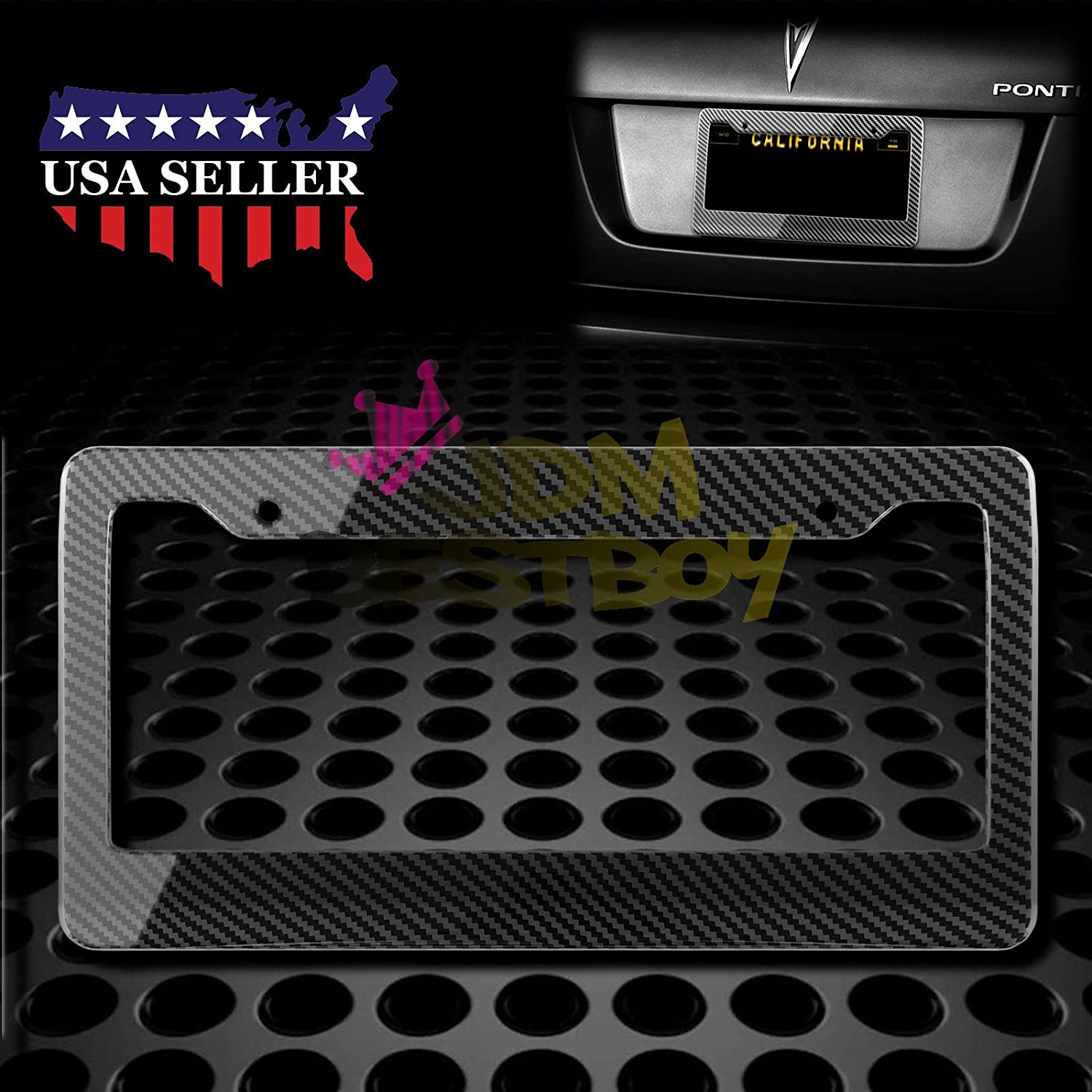 2Pcs Plastic Silver Carbon Fiber Style License Plate Frames Front /& Rear Bracket Cover JDMBESTBOY