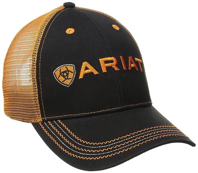 49e4f34887b142 ARIAT Men's Black Orange Mesh Hat, One Size at Amazon Men's Clothing ...