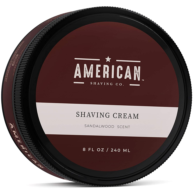 American Shaving Shaving Cream For Men (8oz) - Sandalwood Barbershop Scent - Premium Natural Lathering Wet Shave Soap - Best Men's Shave Cream For Sensitive Skin - Leaves Skin Irritation-Free