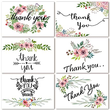 48 bulk thank you cards floral flower thank you notes for wedding baby shower
