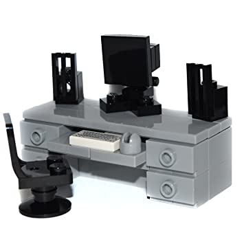 speakers desk. lego furniture: computer desk (gray) -custom set with chair, monitor, speakers i