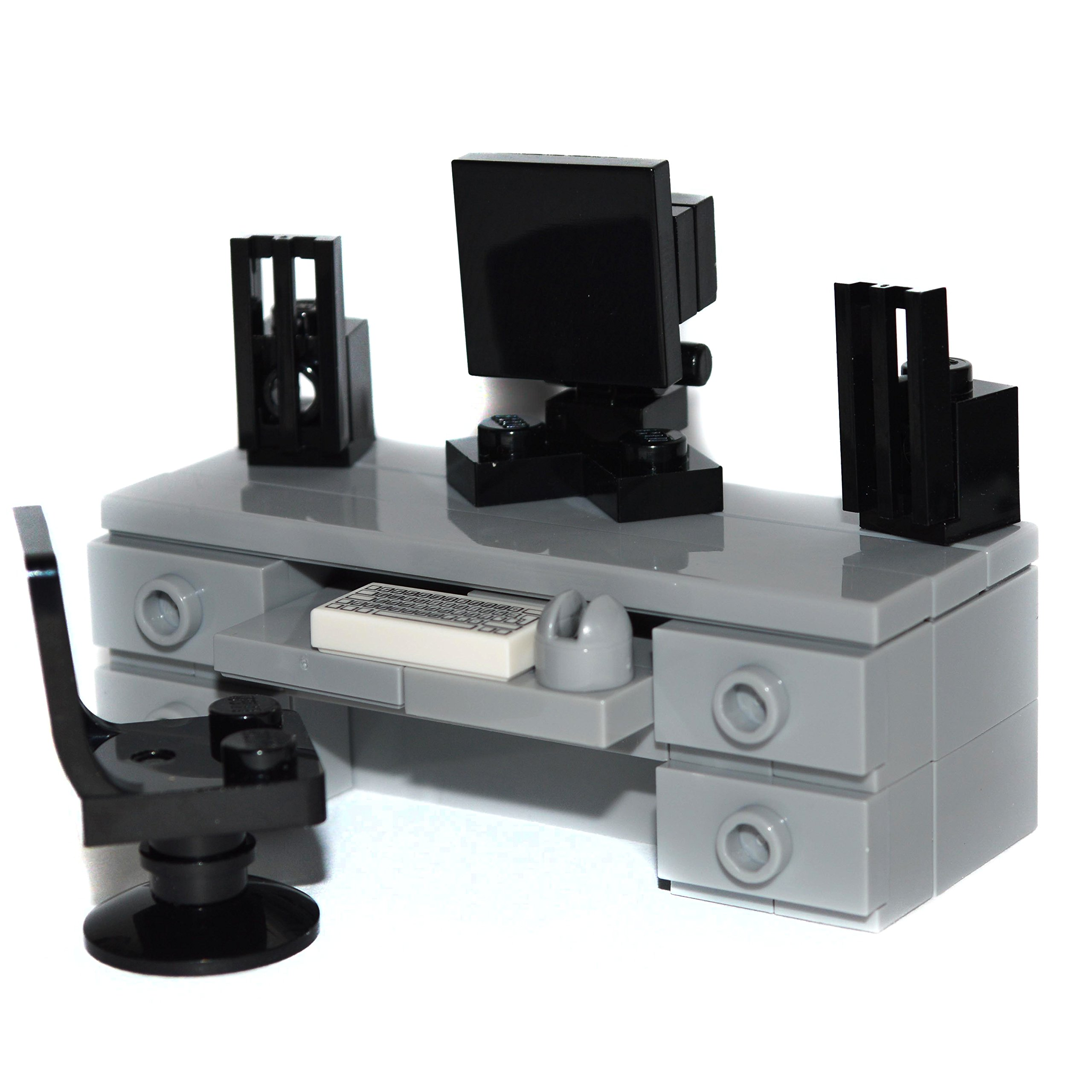 LEGO Furniture: Computer Desk (Gray) -Custom Set with Chair, Monitor, Speakers, Keyboard & Mouse