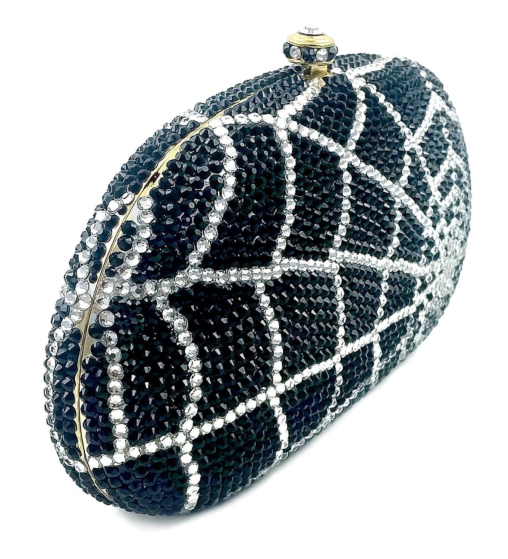 """Charlotte"" Spider Web Swarovski Crystals & Jeweled Clutch, Hard Case, Leather Lined, Black/Gold."