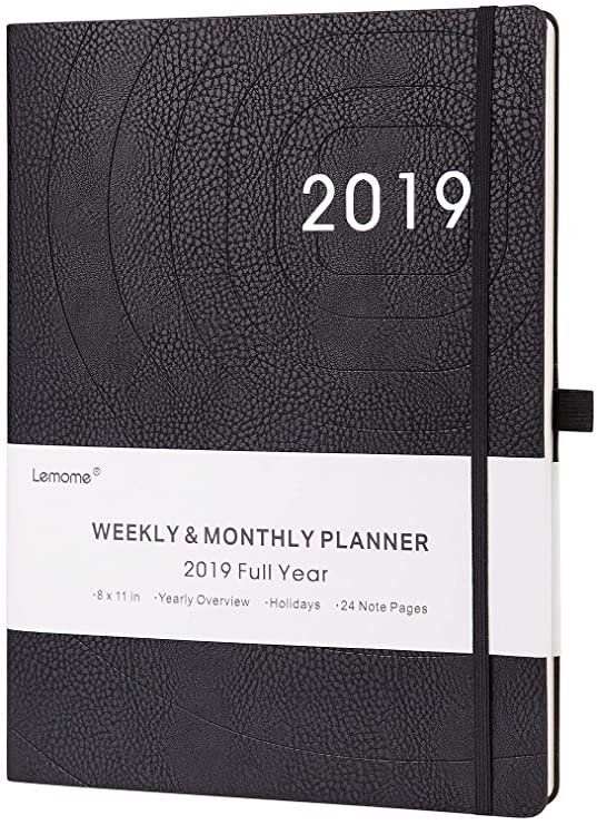 "Planner 2019 – Academic Weekly, Monthly And Year Planner With Pen Loop, To Achieve Your Goals & Improve Productivity, Thick Paper, Inner Pocket, 8.5"" X 11"", Black by Lemome"