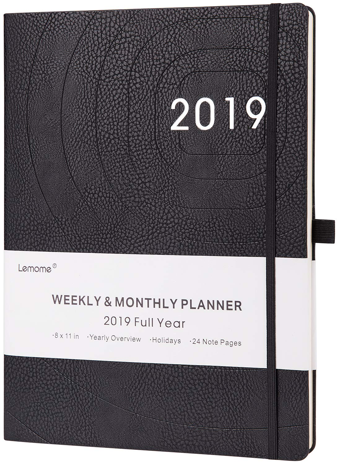Planner 2019 – Academic Weekly, Monthly and Year Planner with Pen Loop, to Achieve Your Goals & Improve Productivity, Thick Paper, Inner Pocket, 8.5'' x 11'', Black
