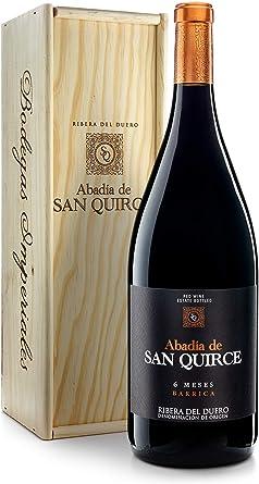 Abadía de San Quirce Vino Tinto 6 Meses Barrica Magnum en Caja de Madera - 1500 ml: Amazon.es: Alimentación y bebidas