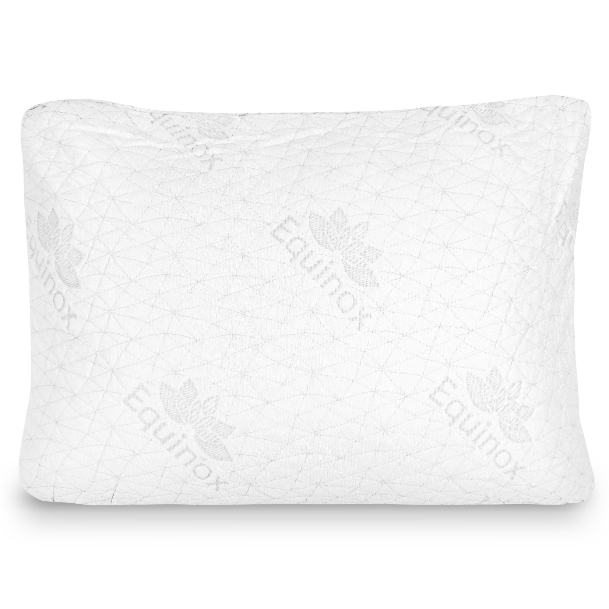 Equinox Premium Shredded Memory Foam Pillow (20'' x 27'') - Queen Sized Memory Bed Pillow, Removable & Washable Soft Zip Bamboo Cover, Luxury Padded Design, White