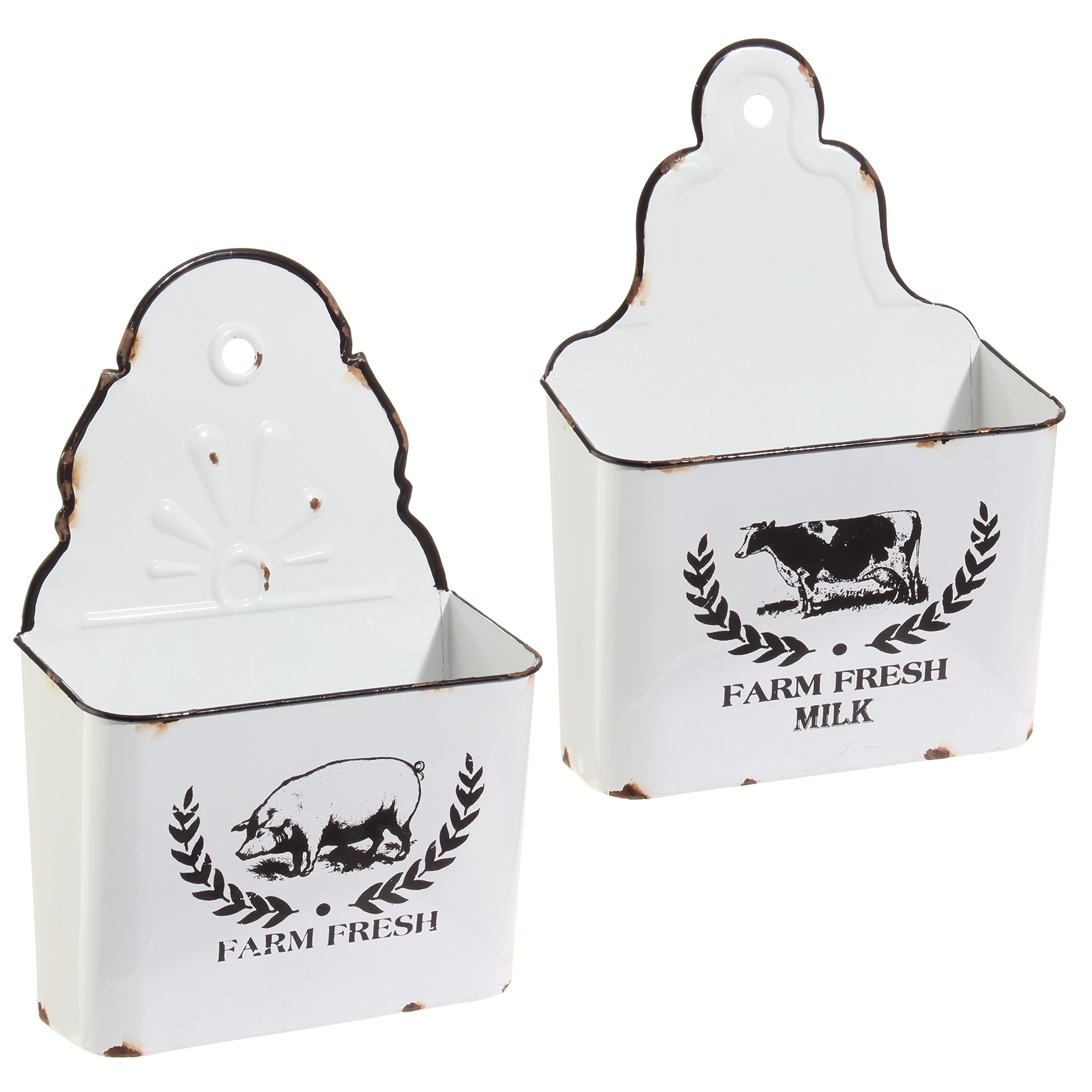 Set of 2 Metal White Enamelware Distressed Wall Bins Farm Fresh Country Style by RAZ Imports