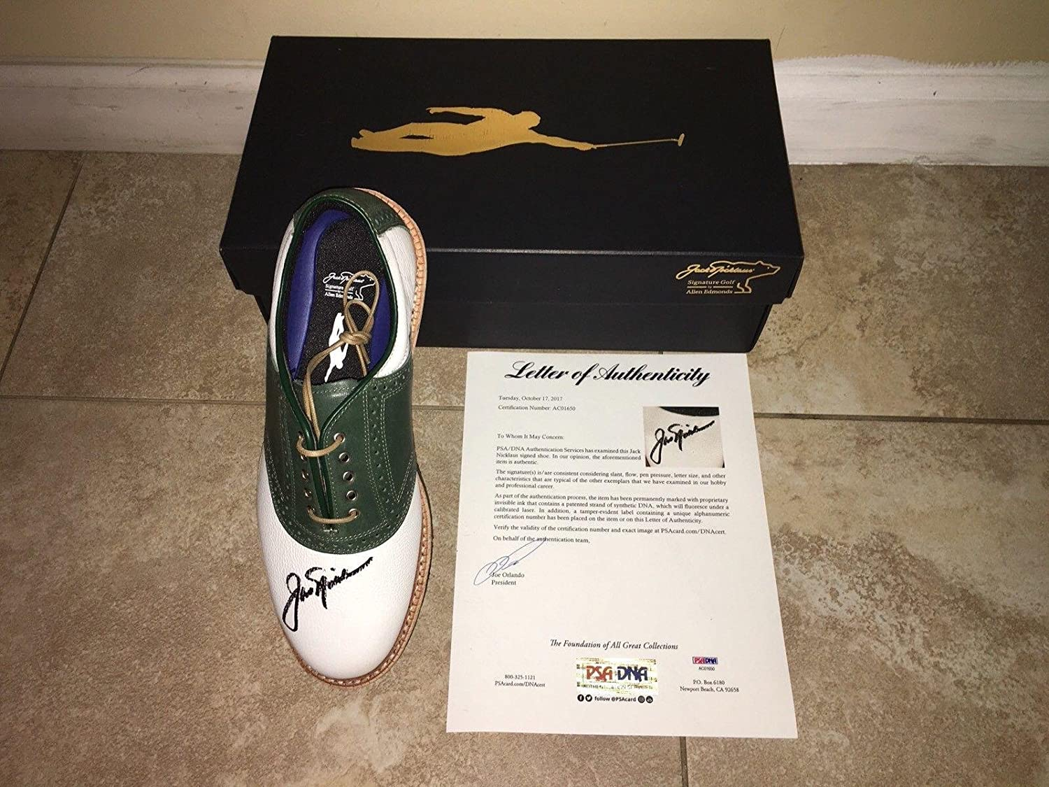 Jack Nicklaus Signed Official Golden Bear Shoe 6x Masters Champ #2 - PSA/DNA Certified - Autographed Golf Shoes
