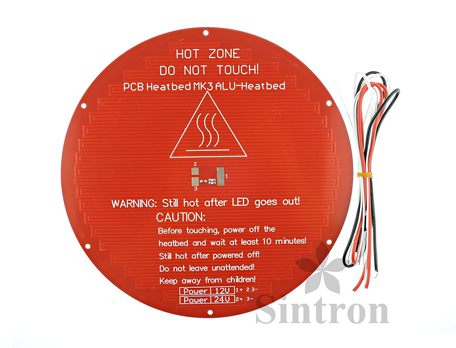 Sintron 3D Printer Drucker Heatbed Round 3mm Aluminum MK3 Heated Bed for RepRap Rostock Delta Kossel Mini with Thermistor /& Wire