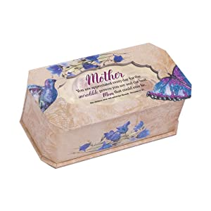 Cottage Garden Mother Incredible Person Butterfly and Bird Glitter Music Box Plays Amazing Grace