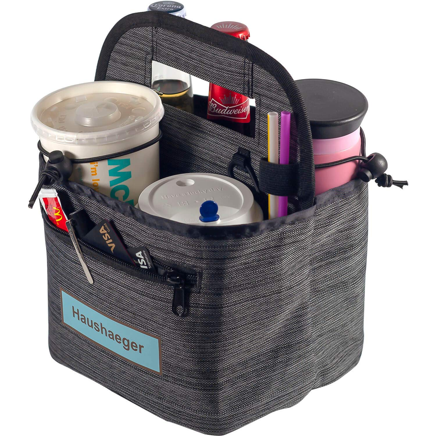 Portable Drink Carrier and Reusable Coffee Cup Holder On-The-go by Haushaeger - Foldable Insulated Travel Beverage Tote Bag with Handle for Delivery - Thick (Dark Grey)