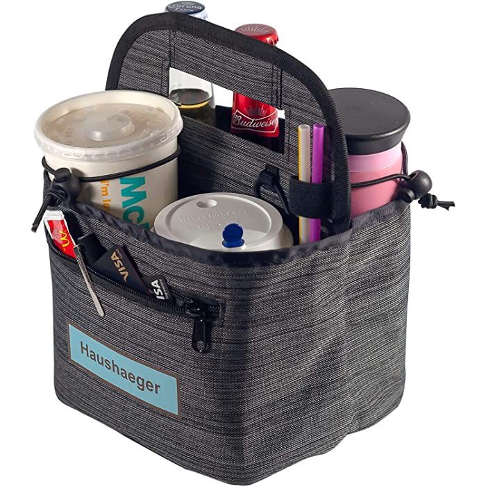 Portable Drink Carrier and Reusable Coffee Cup Holder On-The-go by Haushaeger - Foldable Insulated Travel Beverage Tote Bag with Handle for Delivery - Lightweight (Dark Grey)