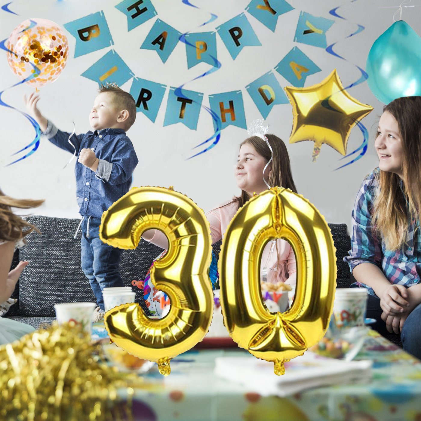 30th Birthday Party Decorations Kit Large Happy Banner Big 30 Gold Decor Foil Balloons For Him Or Her Dirty Thirty Bday Ideas Banners
