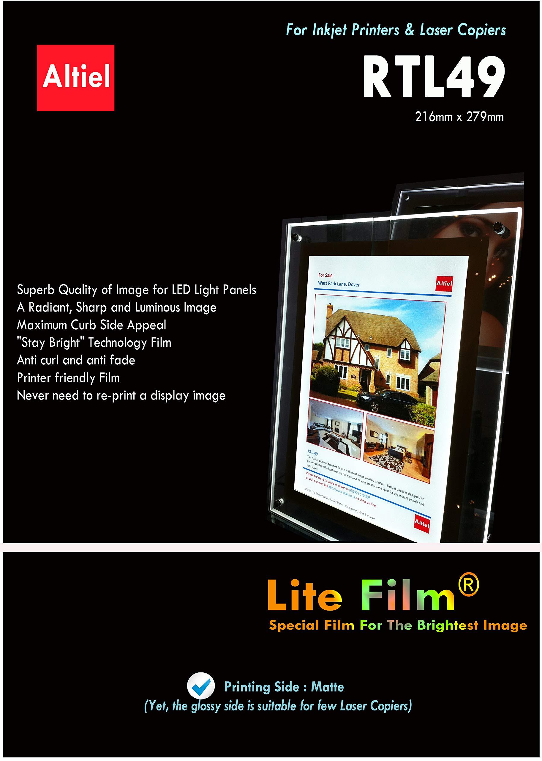RTL49-50 sheets of 8.5'' x 11'' - Translucent Backlit Film sheet/Back Lit Paper Displays, Excellently printable with all Inkjet printers & Laser Copiers