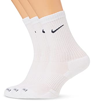 Nike 3PPK Dri-Fit Cushion Crew - Calcetines unisex, color blanco/gris, talla L: Amazon.es: Zapatos y complementos