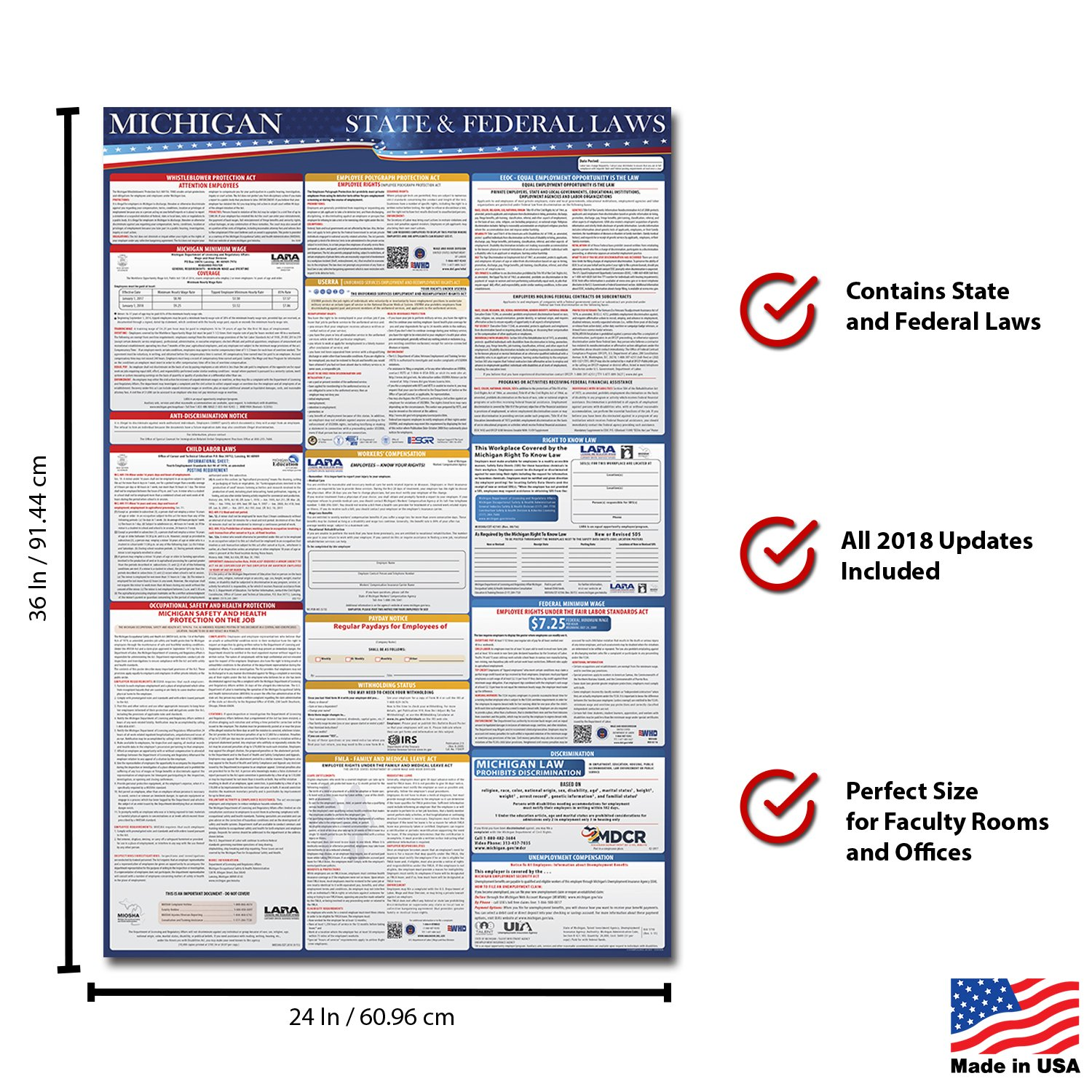 2018 Michigan State and Federal Labor Law Compliance Poster - OSHA Compliant 36'' x 24'' - UV Coated by Labor Law Posters (Image #2)
