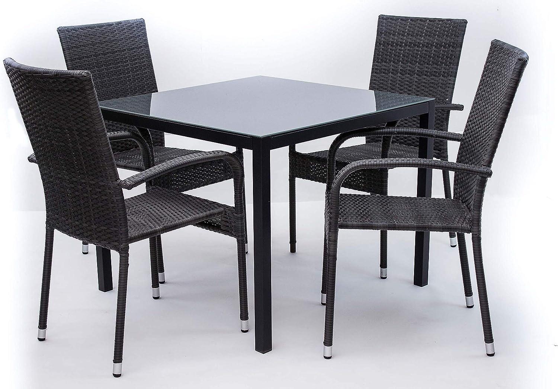 AVANTI TRENDSTORE Arezzo small Set da giardino composto da tavolo in metallo con superficie in vetro e quattro sedie impilabili in rattan