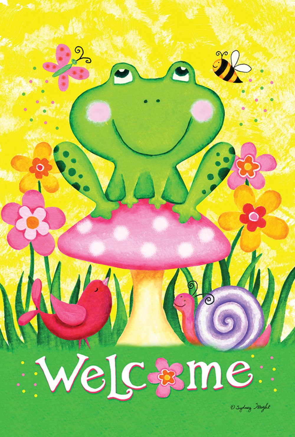 Toland Home Garden Welcome Froggie and Friends 12.5 x 18 Inch Decorative Colorful Spring Frog Flower Bird Garden Flag