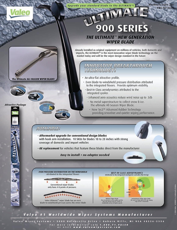 Valeo 900235B Frameless ULTIMATE 23 All-Season OE Replacement Wiper Blade