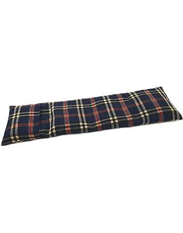 Saco térmico cervical de semillas de trigo con funda lavable 50x16cm (Escoces azul)