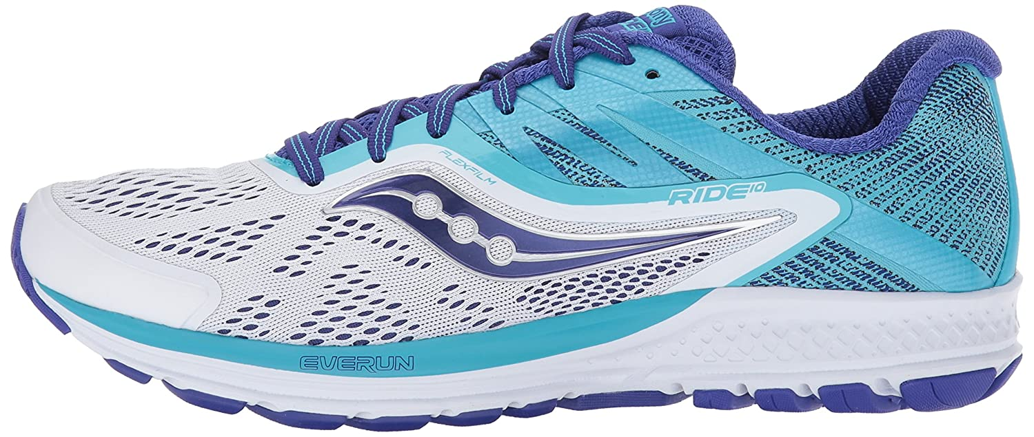 Saucony Women's Ride 10 Running-Shoes B01MS043XQ 9.5 B(M) US|White Blue