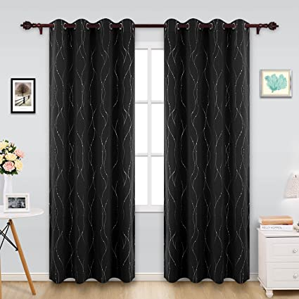 Amazon Deconovo Patterned Blackout Curtains Wave Line with Dots Delectable Patterned Blackout Curtains