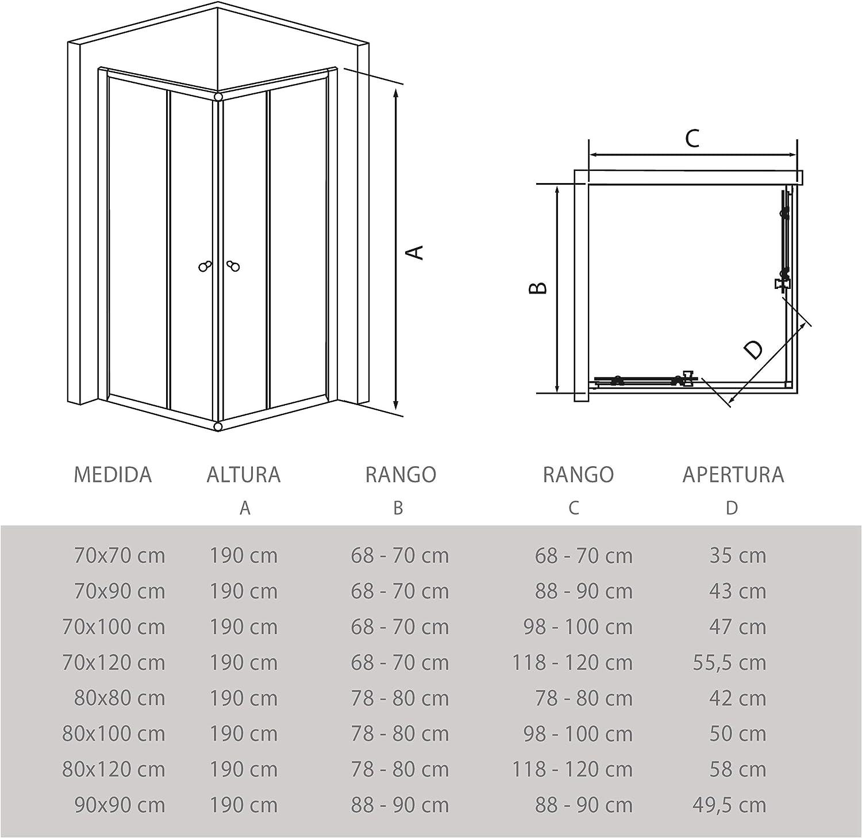 Cristal Decorado de 6mm y Perfil Aluminio Cromado Plata 70x70 Mampara de Ducha Angular Modelo POPULI 2 Hojas Fijas y 2 Correderas Adaptable 69-70cm a 69-70cm