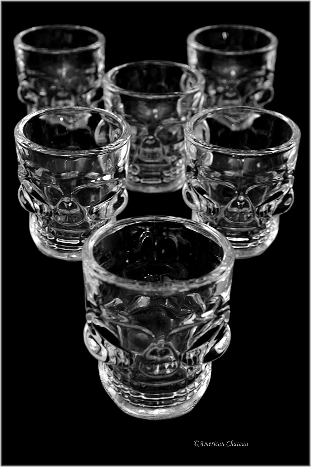 Skull Shot Glasses – Set of 6, 1.7oz Modern Houseware