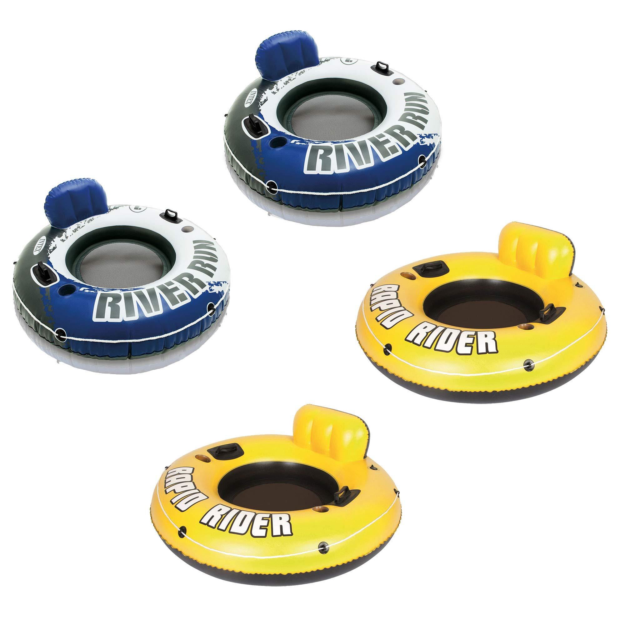 Bestway Rapid Rider 53'' Inflatable Tube (2 Pack) & Intex River Run Tube (2 Pack) by Bestway