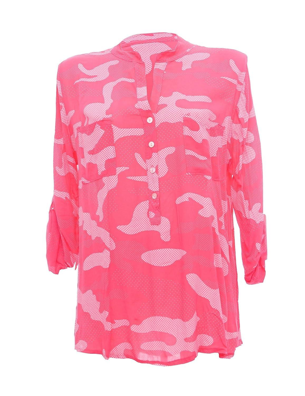 Moda Italy Damen Tarn Bluse Schlupfbluse Bluse Fischerhemd Camouflage  Muster Punkten V-Ausschnitt und Langen Ärmel mit Knopfriegel Polka Dots  Longbluse ... a33a33b126
