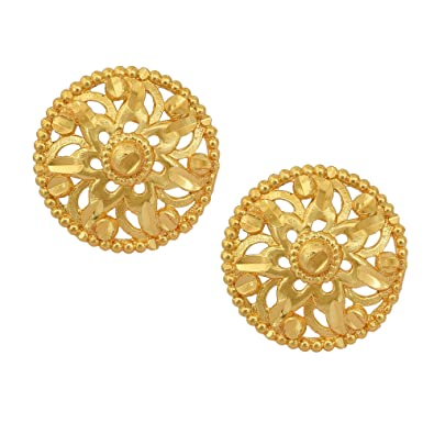 1b218ef23 Buy Dzine Trendz 24KT yelllow Gold plated round shape Stylish Stud earrings  Ethnic latest design Online at Low Prices in India | Amazon Jewellery Store  ...