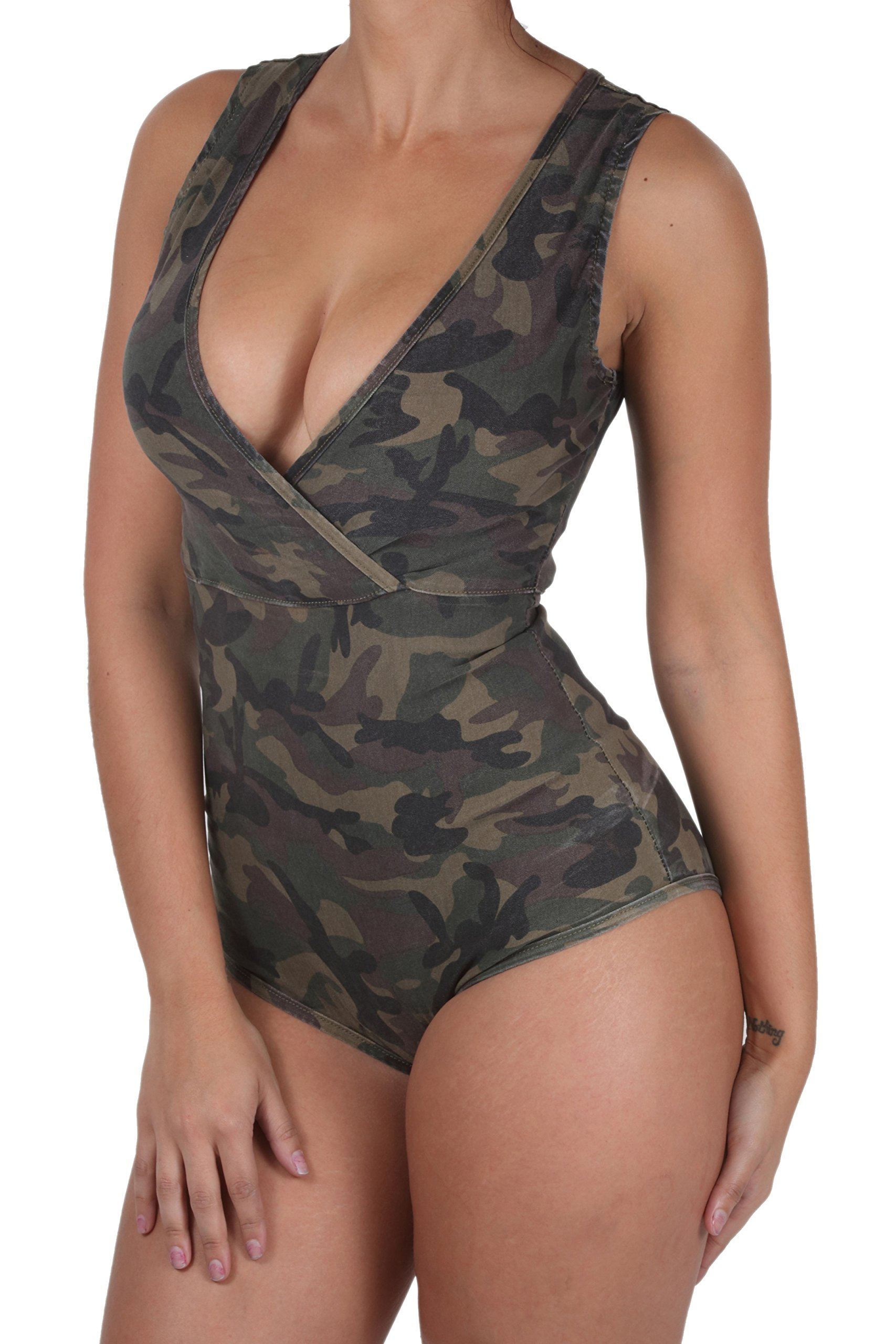 BD-8514-AM - Women's Sexy V-Neck, Sleeveless, Camouflage, Jumpsuits Bodysuit Size M