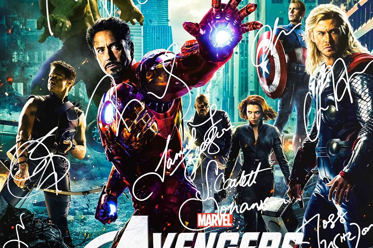 Amazon.com: The Avengers Cast Signed Movie Poster Wood Framed with ...