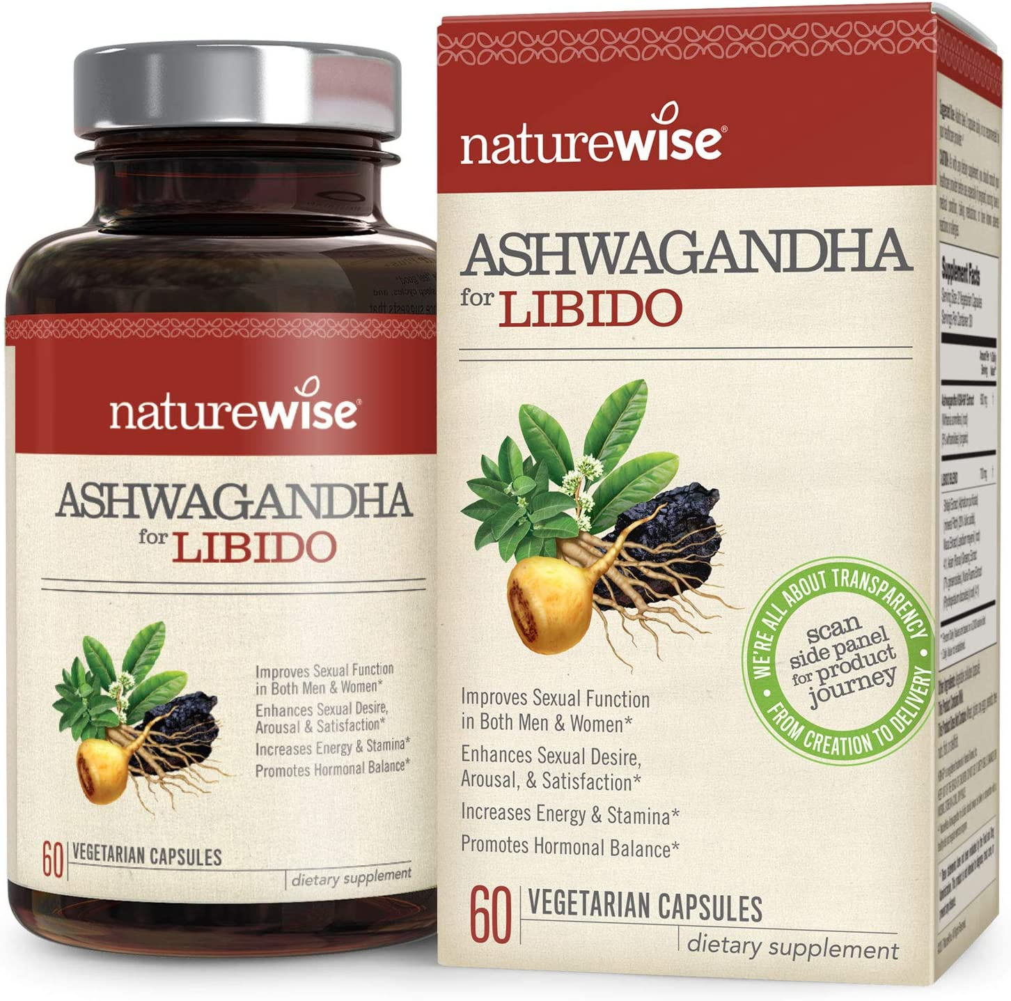 NatureWise Ashwagandha for Libido KSM 66 Organic Ashwagandha Maca, Ginseng, Shilajit, Muira Puama for Sexual Health, Energy Hormonal Balance Watch Video in Images 1 Month – 60 Count