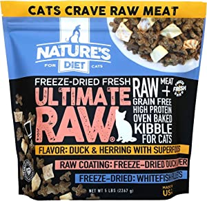 Nature's Diet Ultimate Raw Cat Kibble with Freeze-Dried Raw Whitefish, Duck Liver, Bone Broth, Herring & Superfoods