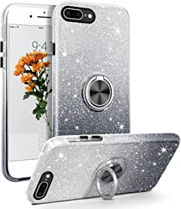 BENTOBEN iPhone 8 Plus Case, iPhone 7 Plus Case, Sparkly Glitter Slim Phone Case with 360° Ring Holder Kickstand Car Mount Supported Dual Layer Protective Cover for iPhone 8 Plus/iPhone 7 Plus, Black