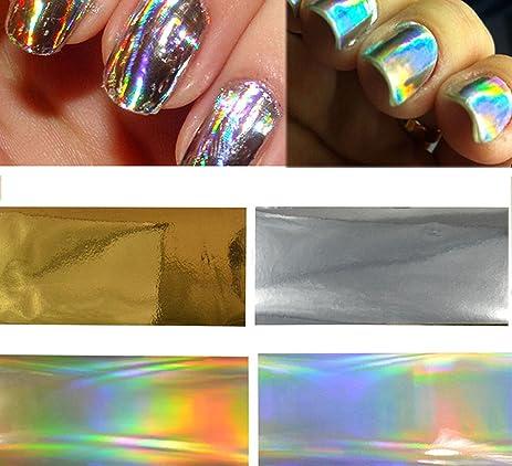 Amazon 4pcs Goldsilver Laser Rainbow Transfer Foils Glue