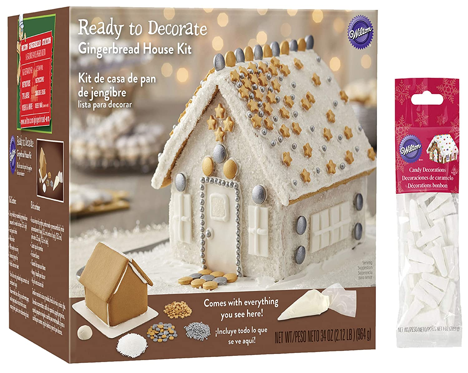 Gingerbread House Kit, Pre-Assembled Winter Snowflake Bling House. Includes: House, Icing, Fondant, Candies, Decorating Bag & Tip - Bundled With Extra Candy!