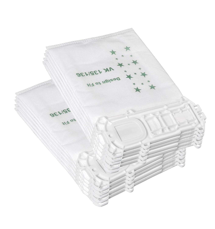 10 Bolsas de aspiradoras de paquetes Compatibles con Vorwerk Kobold 135/136 / 135SC / VK135 / VK136 Anicell