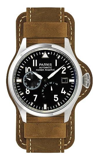 PARNIS 9032 deportivo de acero inoxidable automático de reloj 5bar de 47 mm Cristal Mineral Hombre