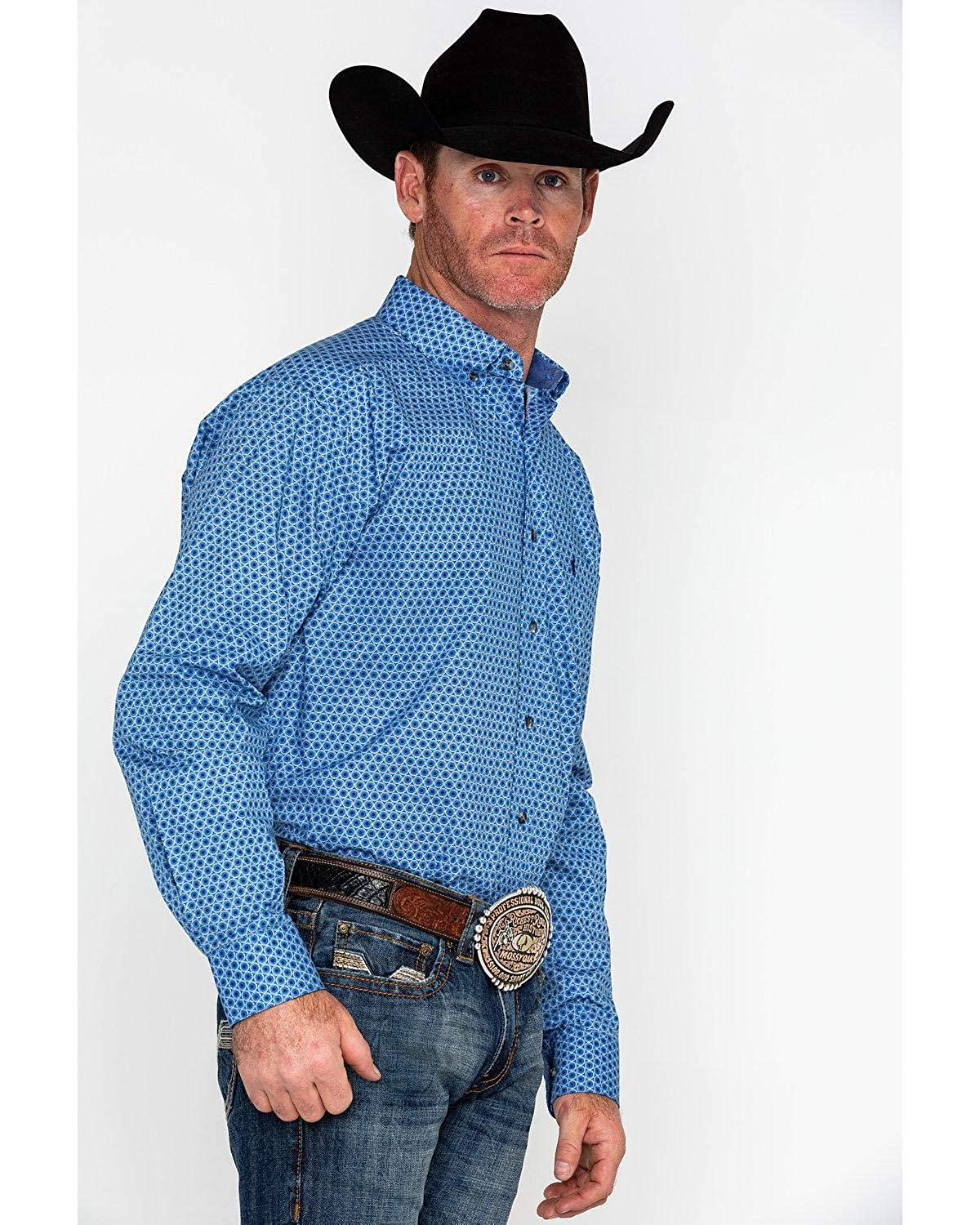 Panhandle Mens Blue Competition Fit Long Sleeve Button Up Shirt