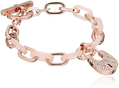 bd7dbc3e4ffd1 Image Unavailable. Image not available for. Color  Michael Kors Heritage  Padlock Rose Gold-Tone Link Bracelet