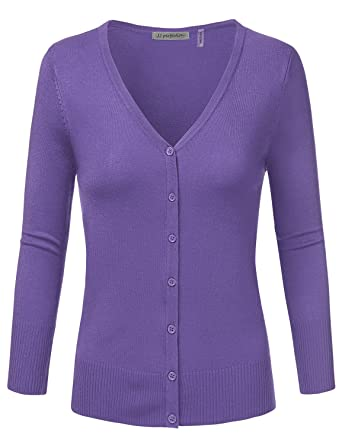 JJ Perfection Women's 3/4 Sleeve V-Neck Button Down Knit Cardigan ...